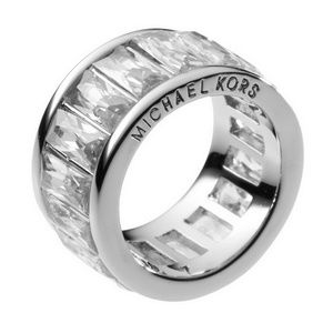 Michale kors silver crystal ring size 7